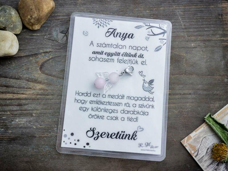 Köszönjük Anya rózsakvarc angyal medál kártyával