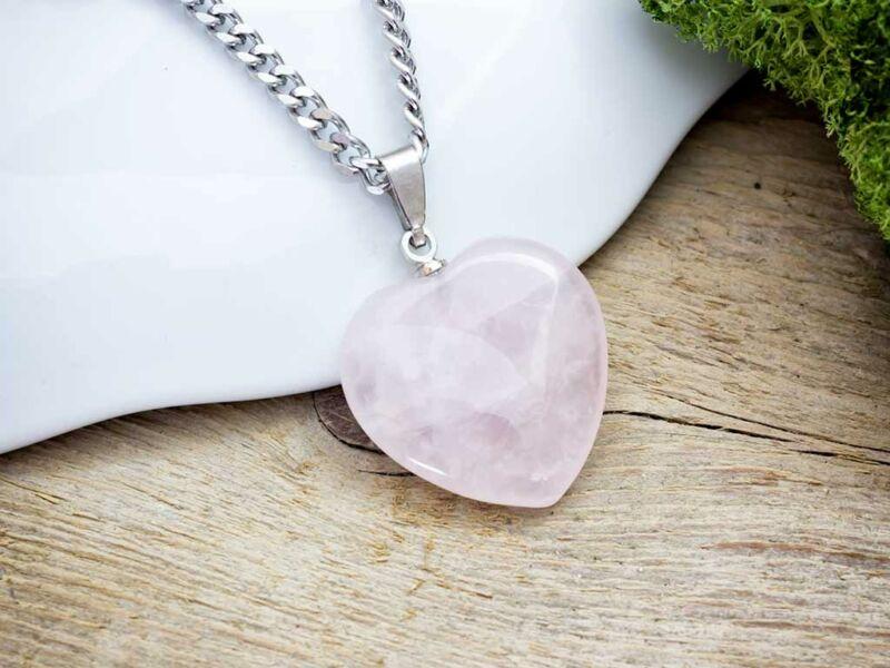 Szerető szív rózsakvarc acél nyaklánc