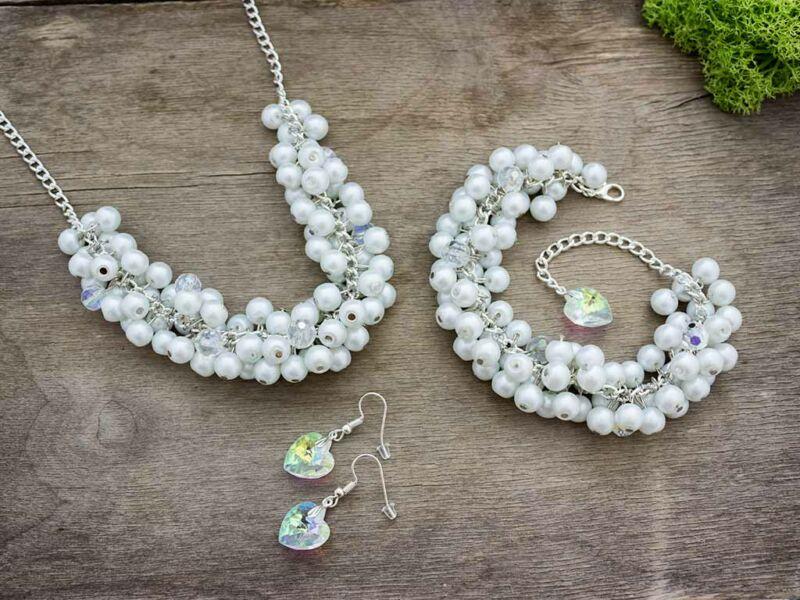 Menyasszonyi bubble karkötő nyaklánc és fülbevaló szett