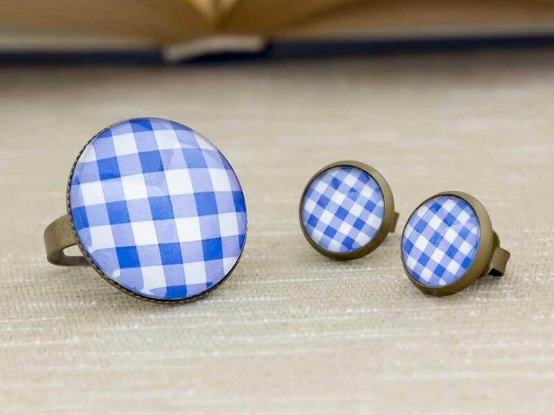 Üveglencsés retro terítő gyűrű és fülbevaló szett