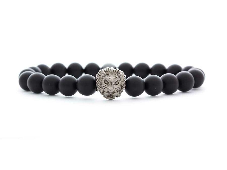 d3a24e033f Matt ónix ezüst színű bátor oroszlános ásvány karkötő
