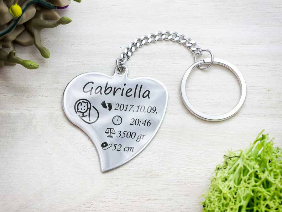 951c83ab9 Baba emlékőrző acél szív medálos kulcstartó