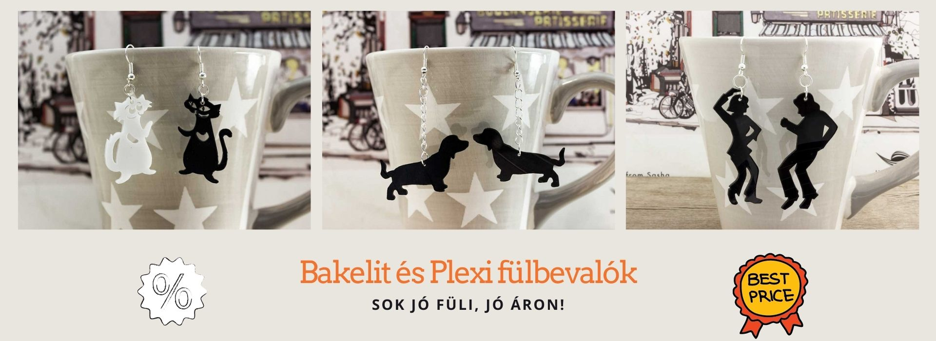 Bakelit és Plexi fülbevalók promo